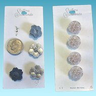 Vintage Western Germany Buttons on Original Cards