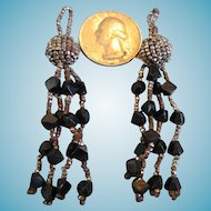 Vintage Handcrafted Steel and Glass Beaded Tassels