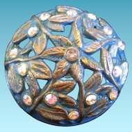 Large Domed Vintage Metal Button Aqua with Gold Wash