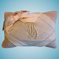 Victorian Initialed Pin Cushion with Overlay