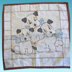 Vintage Vogart Type Embroidered Puppies Pillow Cover