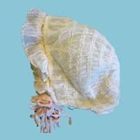 Favorite White Netting Baby Bonnet with Long Silky Ties