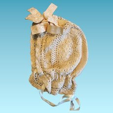Victorian Era Silky Knit Ecru Baby Bonnet