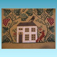 Vintage Counted Cross Stitched House Scene to Frame