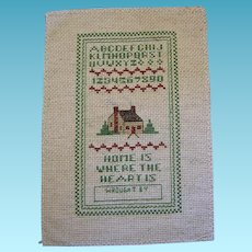 Vintage Counted Cross Stitched Home and Alphabet Sampler to Frame
