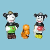 Rare 1930s Walt Disney Enterprises The 3 Pals Mickey Minnie Pluto Figurines