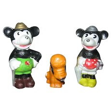 1930s Walt Disney Enterprises The 3 Pals Mickey Minnie Pluto Figurines