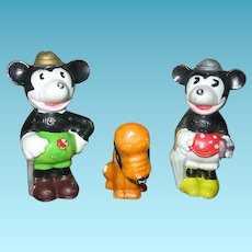 1930s Walt Disney Enterprises The 3 Pals Mickey Minnie Pluto Figurines