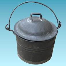 Miniature Tin Pail with Lid and Bale Handle