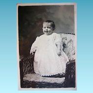 Laughing Baby in Victorian Gown So Cute RPPC
