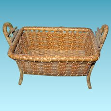 Old Miniature Wicker Doll Bed 1920s