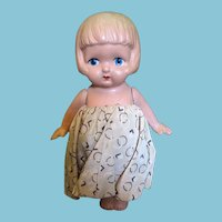 Vintage Painted Bisque Dolly in Her Best Summer Dress