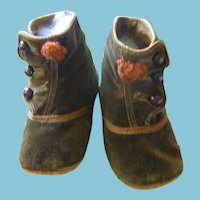 Antique Brown Velvet Doll or Baby Shoes with Rust Pom Poms