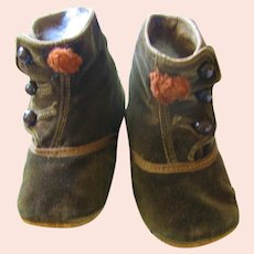 Antique Brown Velvet Doll or Baby Shoes with Rust Pom Poms (on hold for Abbey)