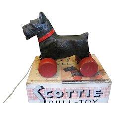 Hubley Scottie Dog Pull Toy In Original Box