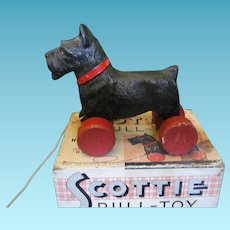 Hubley Scottie Pull Toy In Original Box