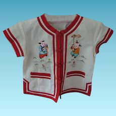 Small Childs Oriental Embroidered So Cute Summer Shirt