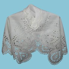 Antique Christening Cape Exquisite 1800s Handiwork Embroidered Eyelet & Scalloped