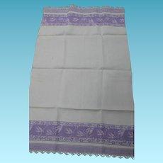 Pair of Vintage Lavender Towels with Bird Designs