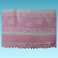 Vintage Kitchen Towel with Pretty Pink Birds