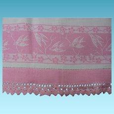 Vintage Kitchen Towel with Pretty Pink Birds