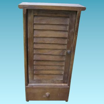 Vintage Wooden Doll Closet with Drawer