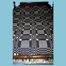 Antique Early to Mid 19th Century Double Weave Coverlet