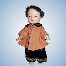 Composition Oriental Jointed Sweet Faced Travel Doll
