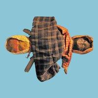 Antique Bruckner Cloth Topsy Turvy Rag Doll