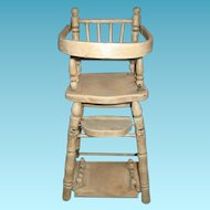 Vintage Wooden Doll Highchair with Fold up Conversion Table