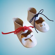 Vintage Oilcloth Tie Doll Shoes with Red White and Blue Laces