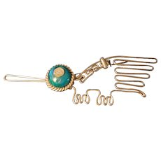 Native American Indian Wire Shaped Bird Pin with Turquoise Head