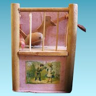 Old Pecking Chicken in Coop Toy Made in Czechoslovakia