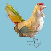 Vintage Chicken with Wire Feet and Feathers