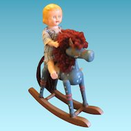 Miniature Wooden Rocking Horse with Jointed Doll