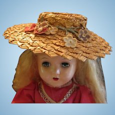 Wonderful Woven Bonnet or Straw Hat with Flowers for Old Dolls