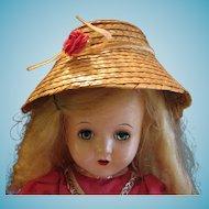 Vintage Straw Bonnet or Hat for Old Doll needs TLC