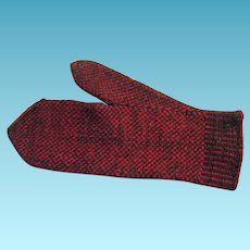 Antique Hand Knit Wool Mitten for Kitchen Use or Display