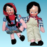 Vintage Pair Cloth Boy and Girl Rag Dolls