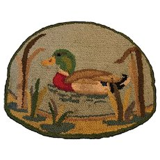 Vintage Duck on Pond Hooked Rug or Mat for Man Cave