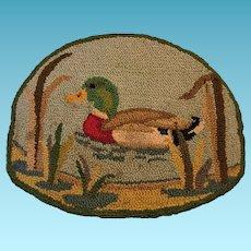 Vintage Duck on Pond Hooked Rug or Mat for Man Cave