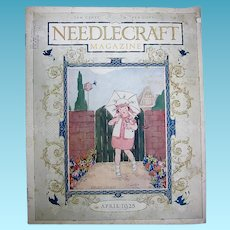 1920s Needlecraft Magazine with Great Cover Girl in Garden with Dolly