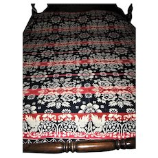Pristine Antique Red and Blue Jacquard Pattern Coverlet
