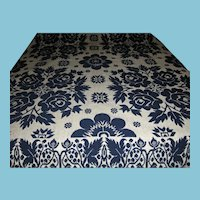 Antique Blue Rose Summer Winter Jacquard Coverlet 1800s