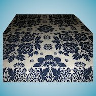 Antique Blue Rose Summer Winter Jacquard Coverlet 1800s