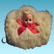 Vintage Childs Doll Head White Bunny Fur Winter Muff