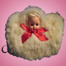 Vintage Childs Doll Head White Bunny Fur Winter Muff