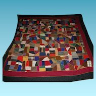 Fantastic Antique Dated Mennonite Made Crazy Quilt