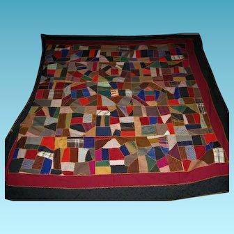Fantastic Antique Dated Mennonite Made Crazy Quilt