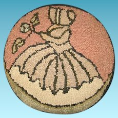 Vintage Southern Belle Hand Hooked Mat Pillow